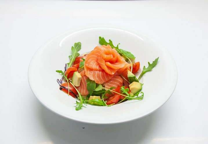 small dish fresh salmon salad