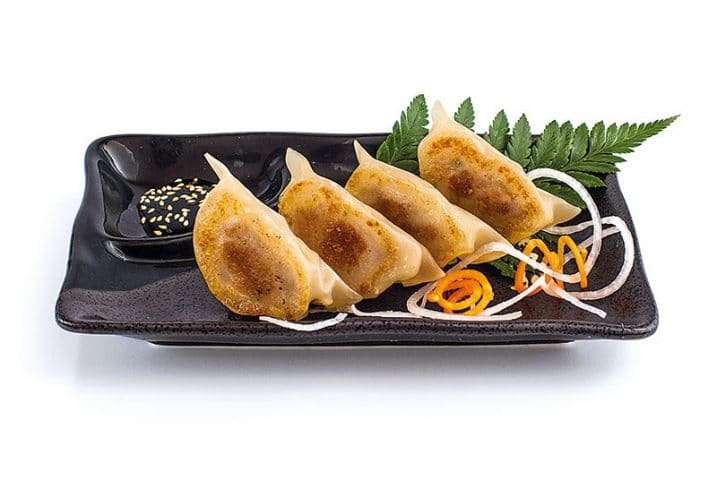 small dish meat and vegetable gyoza